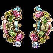 30487a - Signed Hollycraft 1955 Pastel Rhinestones Screw Back Earrings