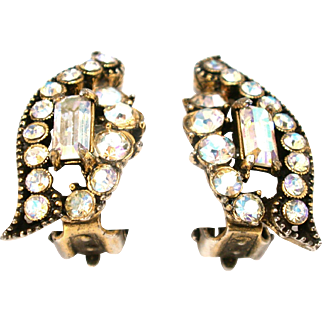 30589b - Signed Hollycraft 1955 Clear Crystal AB Clip Back Earrings