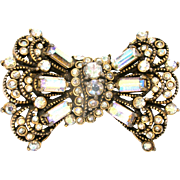 30606a - Signed Hollycraft 1955 Crystal Clear AB Bow-Wings Brooch/Pin