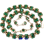 30665a - Signed Hollycraft 1953 Emerald Stones & Creamy Faux Pearls Necklace/Choker