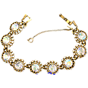 30698a - Unsigned Hollycraft Crystal Clear AB 9-Circle Bracelet