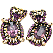 30733a - Signed HOLLYCRAFT 1953 Amethyst & Simulated Half Pearls Earrings Set