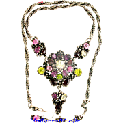30831a - Signed Hollycraft 1954 Purple Peridot Rose Red Yellow Necklace/Pendant