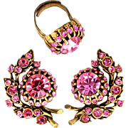 30846a - Hollycraft Pink Color Stones 1 Bud-Flower Shaped Earrings & Ring Set