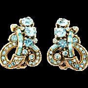 30981a - Signed Hollycraft 1955 Aquamarine Color Rhinestones Clip Earrings