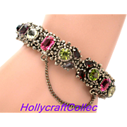 30987a - UNSigned Hollycraft 1954 Purple Green Rose Red Yellow Hinged Bracelet