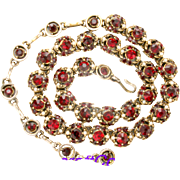 31004a - Signed HOLLYCRAFT 1953 Red Colored Necklace/Choker/Collar