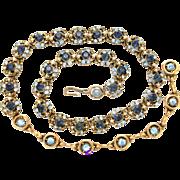 31063a - HOLLYCRAFT 1953 Light & Dark Sapphire Stones & Creamy Half Pearls Necklace/Choker