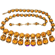 31119a - Signed HOLLYCRAFT 1953 Topaz & Creamy Split Simulated Pearl Necklace