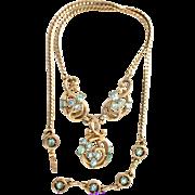 31164a - Signed Hollycraft 1955 Aquamarine Rhinestones Bib Pendant/Necklace