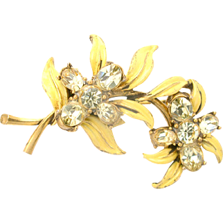 31202a - Signed Hollycraft 1955 Jonquil Stones & Yellow Enameled Leaves Brooch