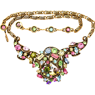 31273a - Signed HOLLYCRAFT 1957 Multi Pastel Colored Princess Necklace