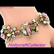 31283a - Signed Hollycraft 1957 Multi Color Pastel Rhinestones Bracelet