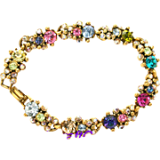 31370a - HOLLYCRAFT Multi Color Rainbow Skinny Bracelet on Gold Tone Metal