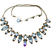 31477a - Signed Hollycraft 1954 Very Rare Ice Blue Necklace on Gold Tone Metal