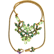 31553a - Signed Hollycraft 1952 Peridot & Emerald Stones Pendant/Necklace