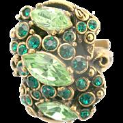 31555a - Signed Hollycraft 1952 Peridot & Emerald Rhinestones Adjustable Ring