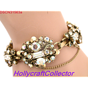 31563a - Signed HOLLYCRAFT 1957 Crystal Clear AB Wide 8 Sections Bracelet