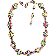 31638a - Signed HOLLYCRAFT 1955 Multi Pastel Colored Necklace/Dog Collar