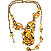 31644a - Signed Hollycraft 1953 Topaz Rhinestone & Faux Creamy Pearls Necklace
