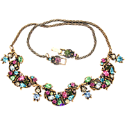 31705a - Signed HOLLYCRAFT 1950 Multi Color Pastel Pastel Half Moon Necklace