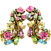 31720a - Signed Hollycraft 1957 Pastel Stones Rope Work Big Clip Earrings