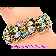 31726a - Signed HOLLYCRAFT 1953 Multi Color Pastel Rhinestones Bracelet