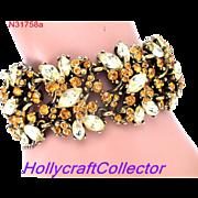 31758a - Signed Hollycraft 1952 WIDE Bracelet in Topaz & Jonquil Navette Stones