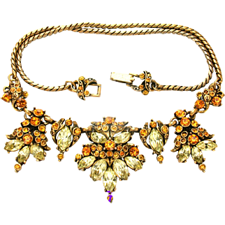 31777a - Signed HOLLYCRAFT 1952 Topaz & Jonquil Color Rhinestone Necklace