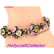 31858a - Signed Hollycraft 1954 Purple Green Rose Red Yellow Bracelet