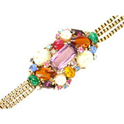 31883a - Signed Hollycraft 1958 Fancy Stones Colorful Gaudy Bracelet