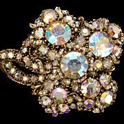31900a - HOLLYCRAFT 1958 Crystal Clear AB Stones HUGE Four-Leaf Clover Brooch