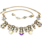 31928a - Signed HOLLYCRAFT 1958 Crystal Clear AB Rhinestones Necklace