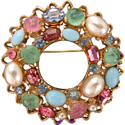 31934a - Signed HOLLYCRAFT All Faux Turquoise Jade Coral Pearls Wreath Brooch