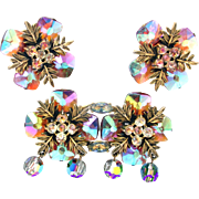 31943a - RARE 1958 HOLLYCRAFT Aurora Square Carnival Glass Brooch & Earrings Set
