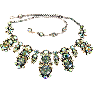 31946a - HOLLYCRAFT 1958 4 Green Cat's Eyes & Peridot AB Rhinestones Necklace