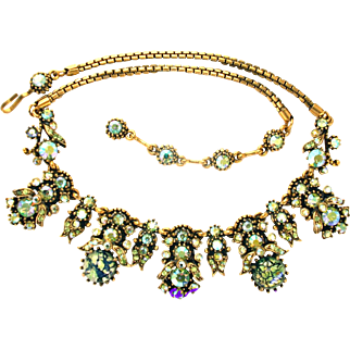 31949a - HOLLYCRAFT 1958 2 Green Cat's Eyes & Peridot AB Rhinestones Necklace