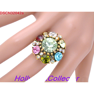 32042a - Signed Rainbow Multi Color HOLLYCRAFT Adjustable Ring