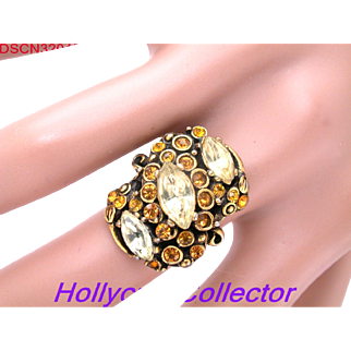 32045a - Signed HOLLYCRAFT dated 1952 Jonquil & Topaz Rhinestone Adjustable Ring