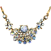 32062a - Signed HOLLYCRAFT 1958 1 Blue Cat's Eyes & Starlight AB Stones Necklace