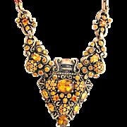 32081a - Signed HOLLYCRAFT 1951 Topaz Rhinestones Pocket Watch Shape Necklace
