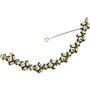32107a - Signed HOLLYCRAFT 1954 Rare Jonquil Yellow Color Rhinestones Bracelet
