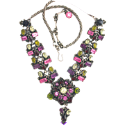 32182a - Signed Hollycraft 1954 Purple Green Rose Red Yellow Drippy Dangle Necklace