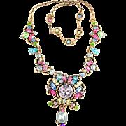32194a - Signed HOLLYCRAFT 1953 Multi Color Pastel Huge Drop Dangle Necklace