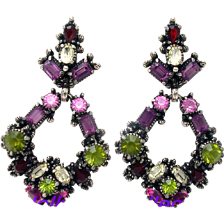 32240a - Hollycraft 1954 Purple Green Rose Red Yellow Bigger Dangle Earrings