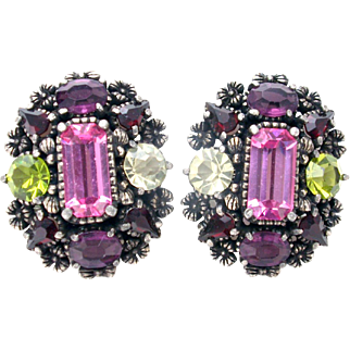 32249a - Hollycraft 1954 Purple Green Red Rose Yellow Big Screw Earrings