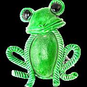 32252a - Vintage HOLLYCRAFT Enamel Green Color FROG Figural Brooch/Pin