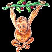 32256a - Unique Vintage HOLLYCRAFT Brown Color Enamel Monkey Brooch Pin