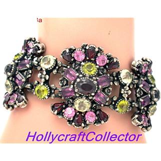 32318a -  Signed Hollycraft 1954 Purple Green Rose Red Yellow Wide Bracelet