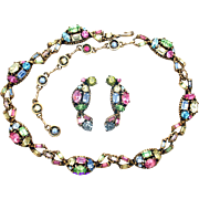 32407a - Signed HOLLYCRAFT 1955 Pastel Colored Necklace/Collar & Earrings Set